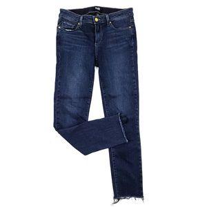 Paige Skyline Skinny Raw Hem Ankle Jeans SZ 28
